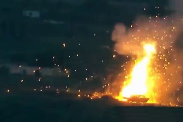 M1 Abrams Tank Cooks Off after Being Hit by ATGM