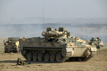 A Warrior Infantry Fighting Vehicle is pictured during a Firepower Demonstration at Warminster, Salisbury Plain.