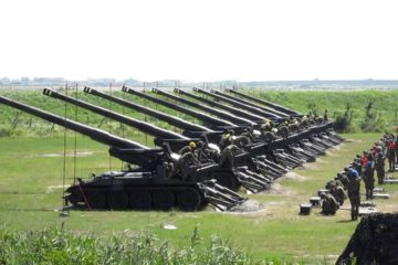 Army of Taiwan Firing Heavy Artillery Guns