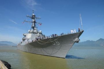 Senator McCain Joins USS John S. McCain Namesake
