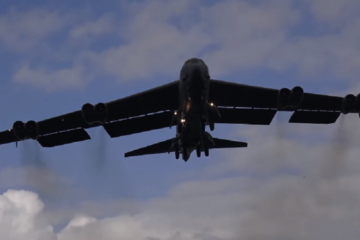 B-52 Bombers Landing at RAF Fairford.