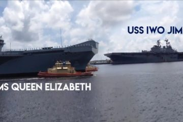 RARE MOMENT: HMS Queen Elizabeth meet USS Iwo Jima in the USA