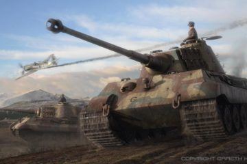 German King Tiger Tank Tiger II , rare WW2 Original Movies Documentation and Art Painting