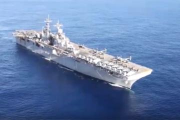 The Kearsarge Amphibious Ready Group transits the Atlantic Ocean.