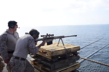 US Marines - Live-Fire Exercise on the Flight Deck of Amphibious Dock Landing Ship