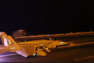 nighttime flight operations aboard the Nimitz-class aircraft carrier USS Abraham Lincoln