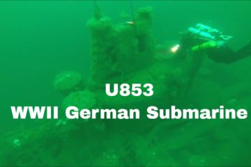U-853 is a popular deep sea diving site. She rests in 121 feet (37 m) of water.
