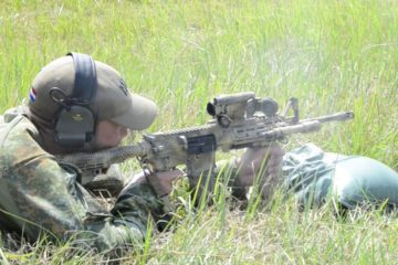 Multinational competitors conduct a zero and dope range during the European Best Sniper Competition at 7th Army Training Command's Grafenwoehr Training Area, July 20, 2019.