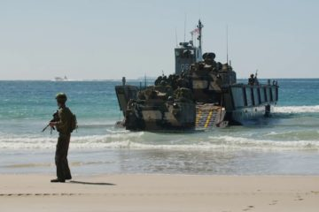 Forces from the United States, Australia, and Japan Stage an Amphibious Assault