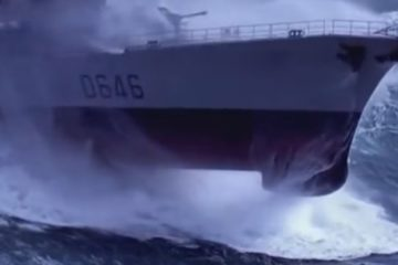 Navy Ships in High Seas