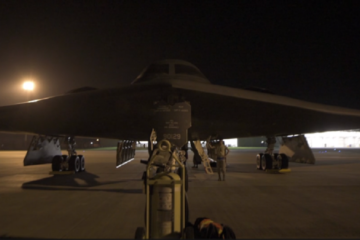 Three B-2 Stealth Bombers arrive at RAF Fairford, UK to execute a Bomber Task Force mission