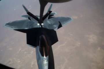 Refueling F 22 Raptors in Mid Air from a KC-135 Stratotanker
