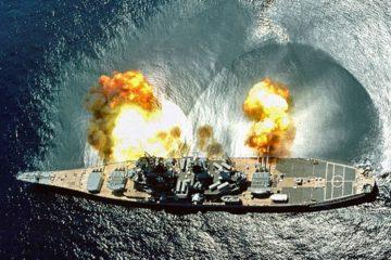 US Battleship Fires Away in Desert Storm