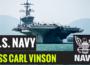 Mass Communication Specialist 3rd Class Nicholas Foley and Mass Communication Specialist 1st Class Zackary Landers perform a guided tour of the Nimitz-class aircraft carrier USS Carl Vinson (CVN 70).